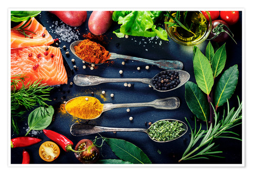 Poster Delicious portion of fresh salmon fillet with aromatic herbs, spices and vegetables - healthy food,