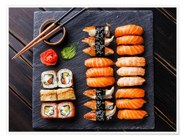 Poster Sushi Set on black stone slate background