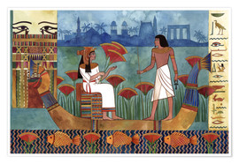 Poster Premium  Egyptian fresco with boat and man and woman