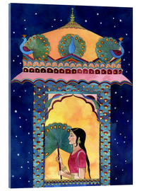 Stampa su vetro acrilico  Indian woman in window, peacocks on roof