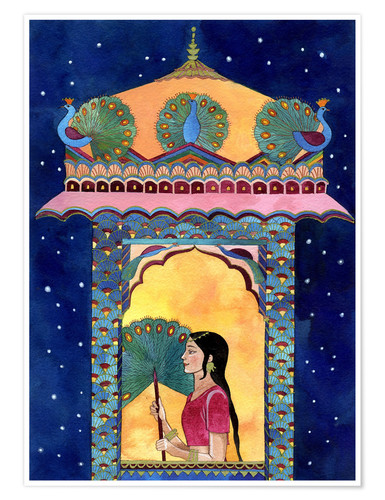 Poster Premium Indian woman in window, peacocks on roof