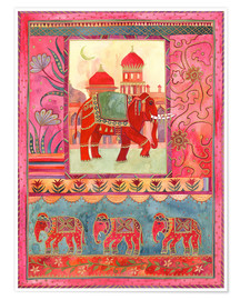 Poster Premium  Elephants, architecture and floral pattern