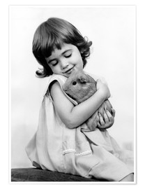 Poster  Girl with guinea pig - SuperStock