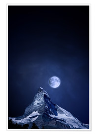 Poster Premium  Matterhorn in a full moon night - BY