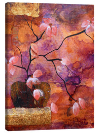 Stampa su tela  Abstract vase with flowers