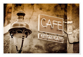 Poster Premium  Cafe sign and lamp post, Paris, France. - age fotostock