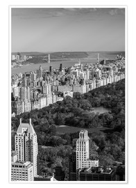 Poster Premium  USA, New York, New York City, elevated view of the Upper West Side of Manhattan and Central Park fro - Walter Bibikow
