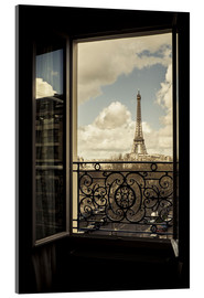 Vetro acrilico  The Eiffel Tower, Paris, France, viewed through an open window. - age fotostock