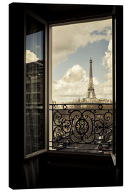 Stampa su tela  The Eiffel Tower, Paris, France, viewed through an open window. - age fotostock