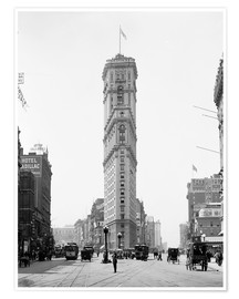 Poster Times Building, 42nd Street and Longacre Square, New York City, USA, circa 1908