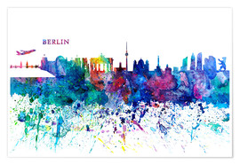 Poster Premium Skyline BERLIN Colorful Silhouette PL