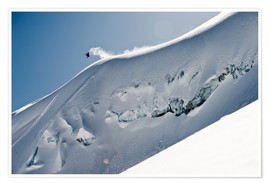 Poster Premium  Freeriding snowboarder on a snowy slope - Dean Blotto Gray