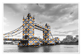 Poster Premium  Tower Bridge con colori pop