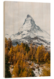 Stampa su legno  Matterhorn mountain peak in autumn  View from Riffelalp, Gornergrat, Zermatt, Switzerland - Peter Wey
