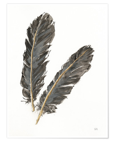 Poster Premium Gold Feathers IV on White