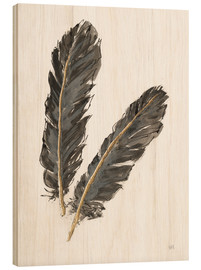 Stampa su legno  Gold Feathers IV on White - Chris Paschke
