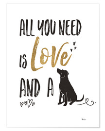 Poster Premium  All you need is love and a dog - Veronique Charron