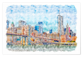 Poster Premium New York skyline with Brooklyn Bridge