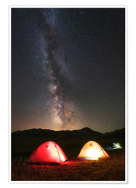 Poster Premium Shining tents under the Milky Way