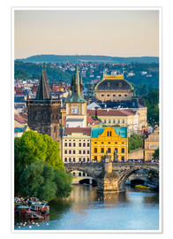 Poster  View of Charles Bridge and buildings in Mala Strana Old Town from Letna Park, on Letna Hill, Prague, - Jason Langley