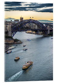 Stampa su vetro acrilico  View over Sydney harbour after sunset, Sydney, New South Wales, Australia, Pacific - Michael Runkel