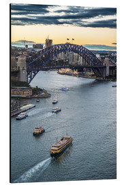 Stampa su alluminio  View over Sydney harbour after sunset, Sydney, New South Wales, Australia, Pacific - Michael Runkel