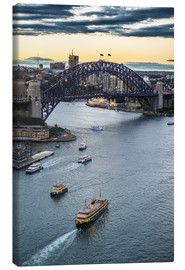 Stampa su tela  View over Sydney harbour after sunset, Sydney, New South Wales, Australia, Pacific - Michael Runkel