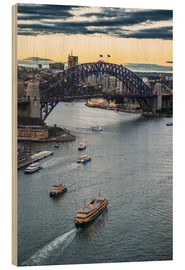 Stampa su legno  View over Sydney harbour after sunset, Sydney, New South Wales, Australia, Pacific - Michael Runkel