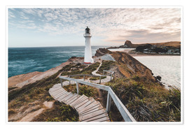Poster Premium  Faro di Wellington, in Nuova Zelanda - Nicky Price