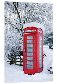 Stampa su vetro acrilico  Traditional British red telephone box covered in winter snow, Snowshill, Cotswolds, Gloucestershire, - Stuart Black