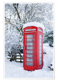 Poster Premium  Traditional British red telephone box covered in winter snow, Snowshill, Cotswolds, Gloucestershire, - Stuart Black