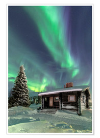Roberto Moiola - The Northern Lights (Aurora borealis) frame the wooden hut in the snowy woods, Pallas, Yllastunturi
