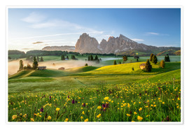 Poster Premium  Spring on the Seiser Alm Südtirol - Achim Thomae