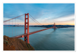 Poster Premium San Francisco - Golden Gate Bridge at Sunset