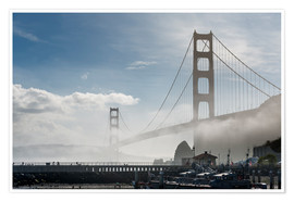 Poster Premium San Francisco - Fog at Golden Gate Bridge