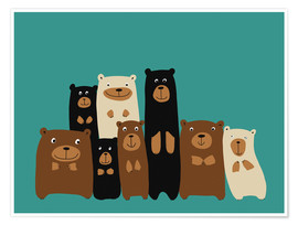 Poster Premium Bear friends turquoise