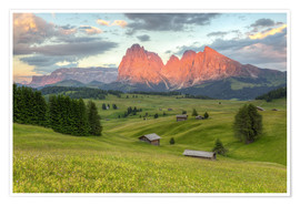 Poster Premium Alpenglow in the Dolomites