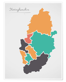 Poster  Nottinghamshire county map modern abstract with round shapes - Ingo Menhard