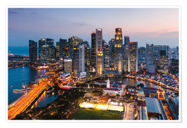 Poster Premium Singapore skyline at sunset