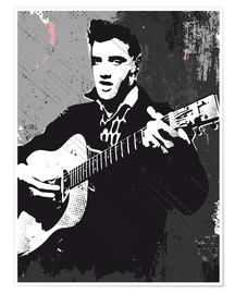 Poster  Elvis Presley black and white art print - 2ToastDesign