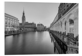 Forex  Hamburg Alsterarkaden and city hall black-and-white - Michael Valjak