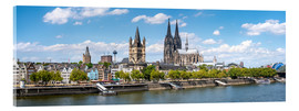 Stampa su vetro acrilico  Cologne Rheinufer with cathedral and town hall - Jan Christopher Becke