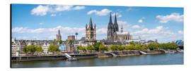 Stampa su alluminio  Cologne Rheinufer with cathedral and town hall - Jan Christopher Becke