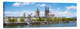 Stampa su tela  Cologne Rheinufer with cathedral and town hall - Jan Christopher Becke