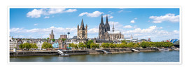 Poster Premium  Cologne Rheinufer with cathedral and town hall - Jan Christopher Becke