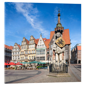 Stampa su vetro acrilico  Historic Market Square in Bremen with Roland Statue - Jan Christopher Becke