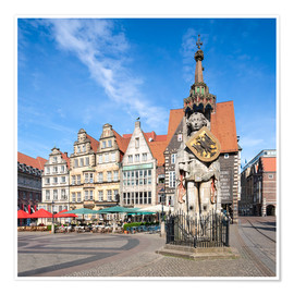 Poster Premium  Historic Market Square in Bremen with Roland Statue - Jan Christopher Becke