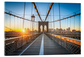 Stampa su vetro acrilico  Brooklyn Bridge at sunrise in front of the Brooklyn skyline - Jan Christopher Becke