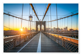 Poster Premium  Brooklyn Bridge at sunrise in front of the Brooklyn skyline - Jan Christopher Becke