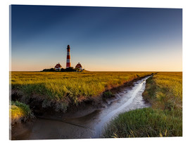 Stampa su vetro acrilico  Lighthouse Westerhever in the evening light - Heiko Mundel